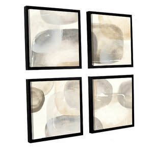 Neutral Stones IV 4 Piece Framed Painting Print on Canvas Set by Latitude Run
