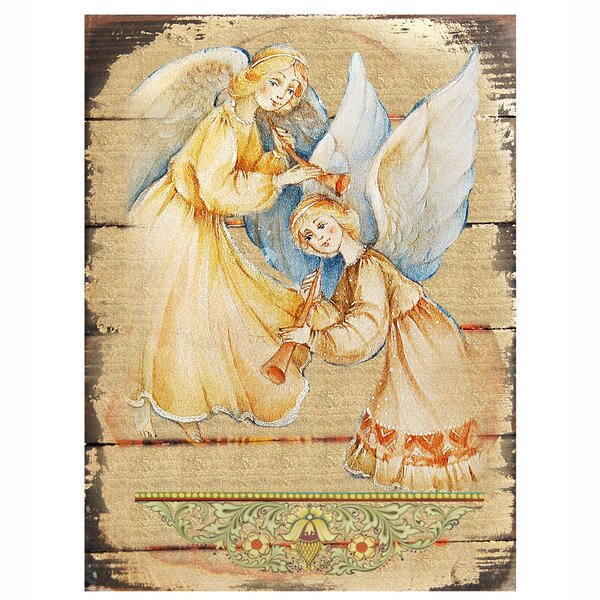 Inspirational Icon Angels Watching Over You Wooden Painting by G Debrekht