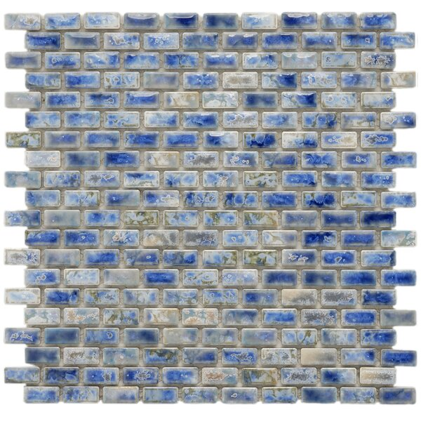 Arcadia 11-3/4 x 11-3/4 Glazed Porcelain Subway Mosaic in Neptune Blue by EliteTile
