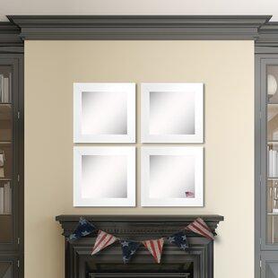 Top Reviews Waite White Satin Wide Wall Mirror (Set of 4) ByEbern Designs