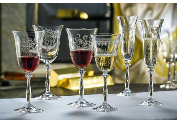 Saladino Etched Lead Free Crystal 8.5 oz White Wine Glass (Set of 6) by Astoria Grand
