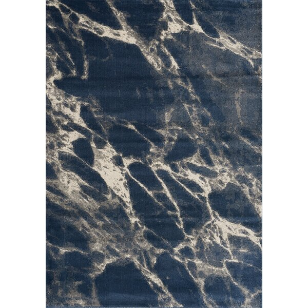 Clara Marble Blue/Cream Area Rug by 17 Stories