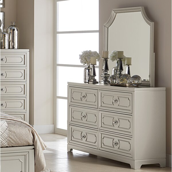 Eldridge 6 Drawer Double Dresser with Mirror by House of Hampton
