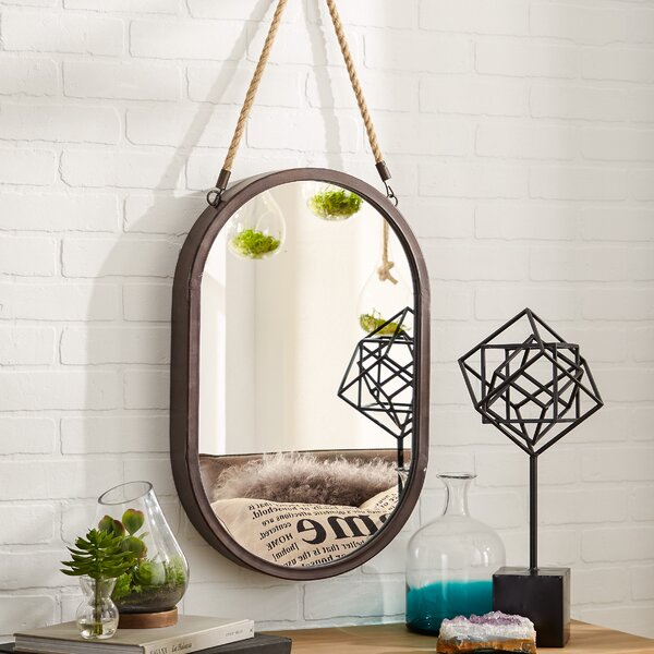 Sokrates Oval Rope Accent Mirror by Mercury Row