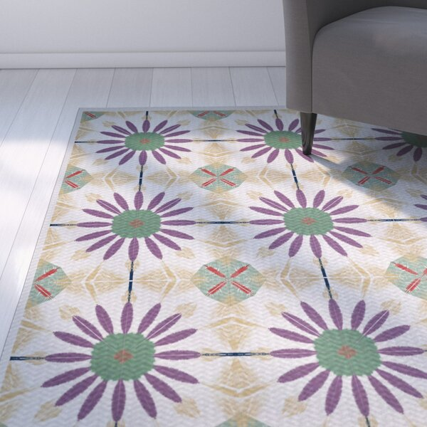 Abbie Green/Purple Indoor/Outdoor Area Rug by Ebern Designs