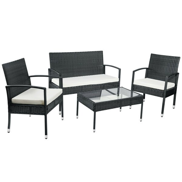 Heeney 4 Piece Rattan Multiple Chair Seating Group with Cushions by Ebern Designs