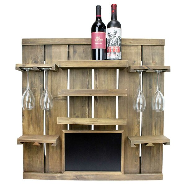 Rico Chalkboard 3 Bottle Wall Mounted Wine Bottle & Glass Rack by August Grove August Grove