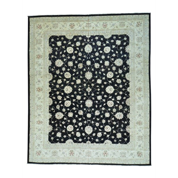 One-of-a-Kind Hamon Peshawar Oriental Hand-Knotted Black Area Rug by World Menagerie