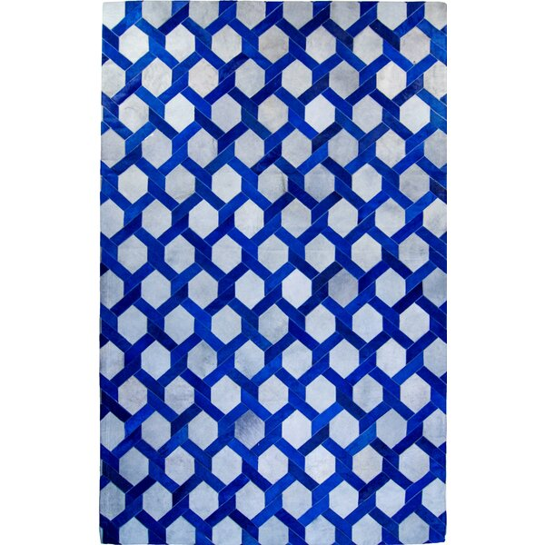 One-of-a-Kind Houghton Hand-Woven Cowhide Blue/Gray Area Rug by Brayden Studio