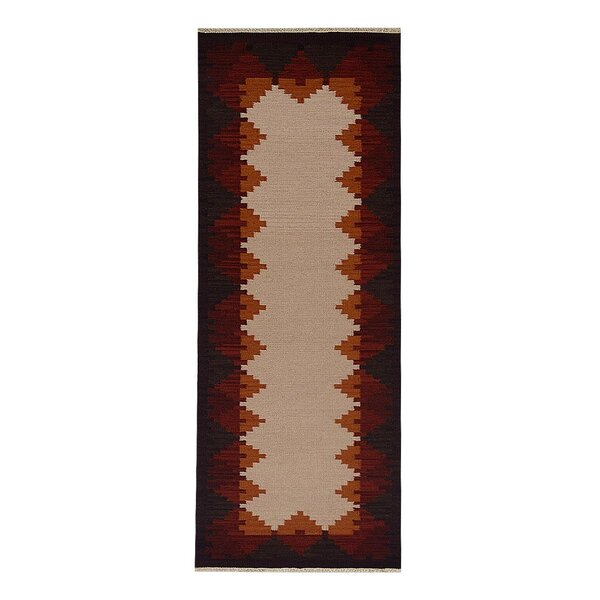 St Catherine Handmade Kilim Wool Beige/Red Area Rug by Millwood Pines