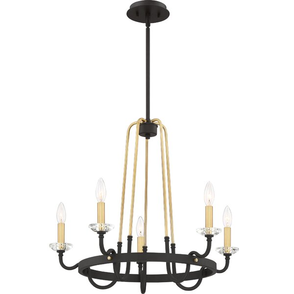 Hoyos 5 - Light Candle Style Wagon Wheel Chandelier by Charlton Home Charlton Home