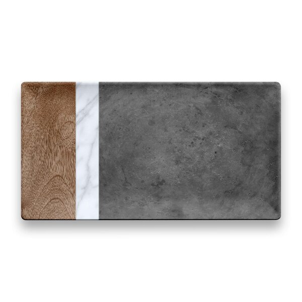 Asante Mixed Carrara and Stone Plank Melamine Platter by Mint Pantry