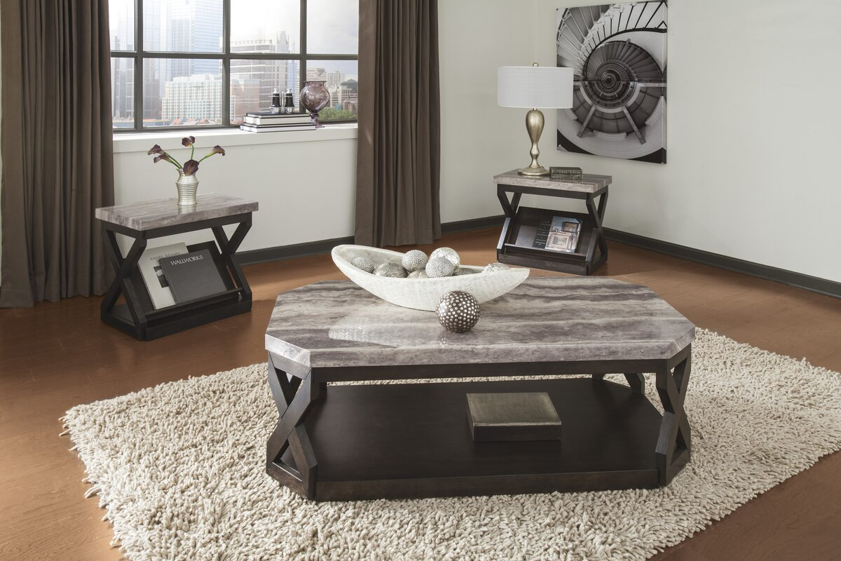 Kelton 3 Piece Coffee Table Set Latitude Run  Reviews Wayfair