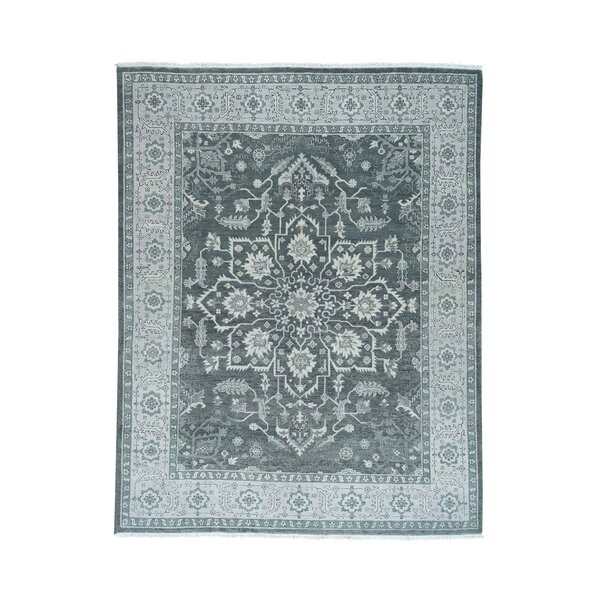One-of-a-Kind Newcastle Silver Wash Serapi Oriental Hand-Knotted Gray Area Rug by Astoria Grand