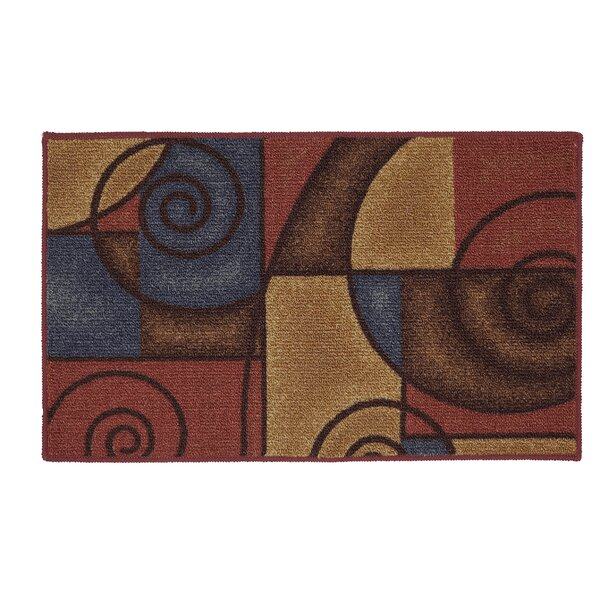 Bunnell Red/Navy Area Rug by Ebern Designs