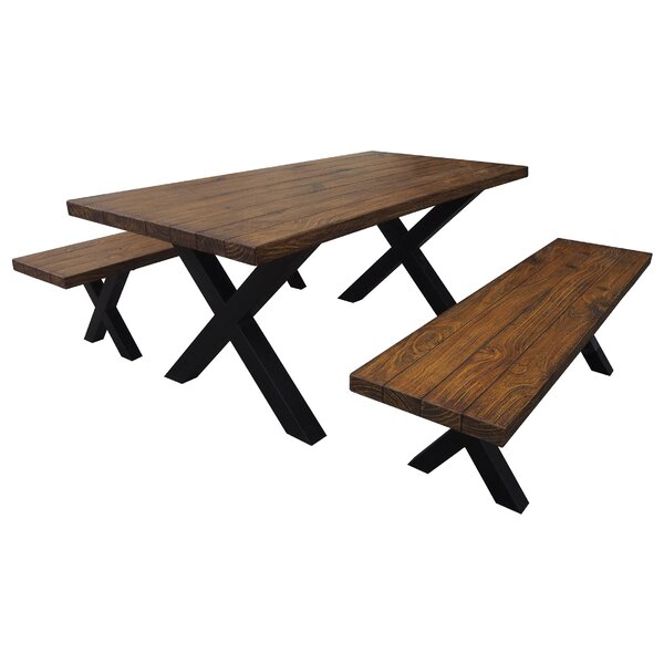 Rooker Indoor 3 Piece Solid Wood Dining Set by Loon Peak