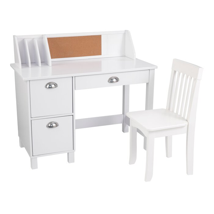 Kids Study Desk With Hutch And Chair Set