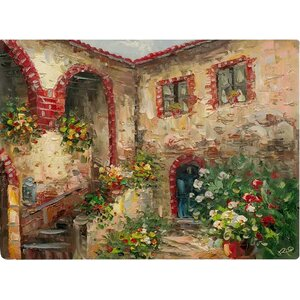 Tuscany Courtyard Painting Print on Canvas by Fleur De Lis Living