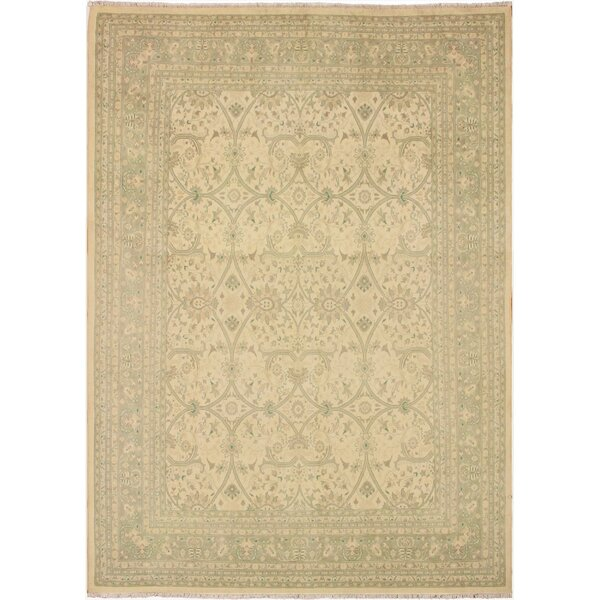 One-of-a-Kind Bolesworth Sun-Faded Hand-Knotted Wool Ivory/Green Area Rug by Canora Grey