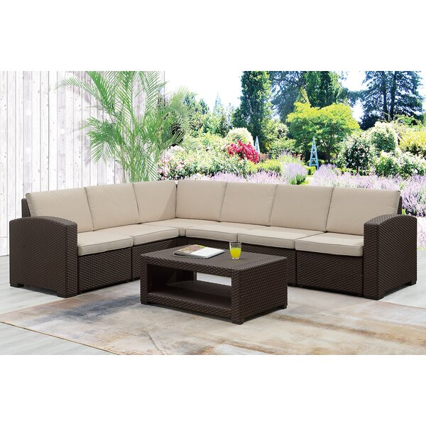 Gallaway 7 Piece Sectional Seating Group with Cushions by Highland Dunes