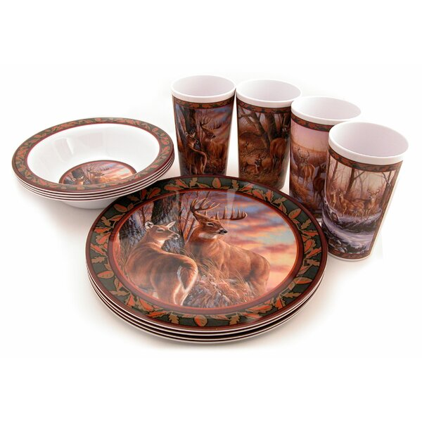 Deer Melamine 12 Piece Dinnerware Set, Service for 4 by MotorHead Products