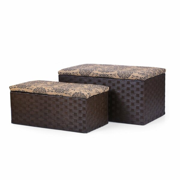 2 Piece Printing Lid Storage Ottoman Set by Adeco Trading