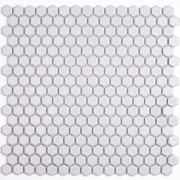 Bliss 0.6 x 0.6 Ceramic Mosaic Tile in White by Splashback Tile