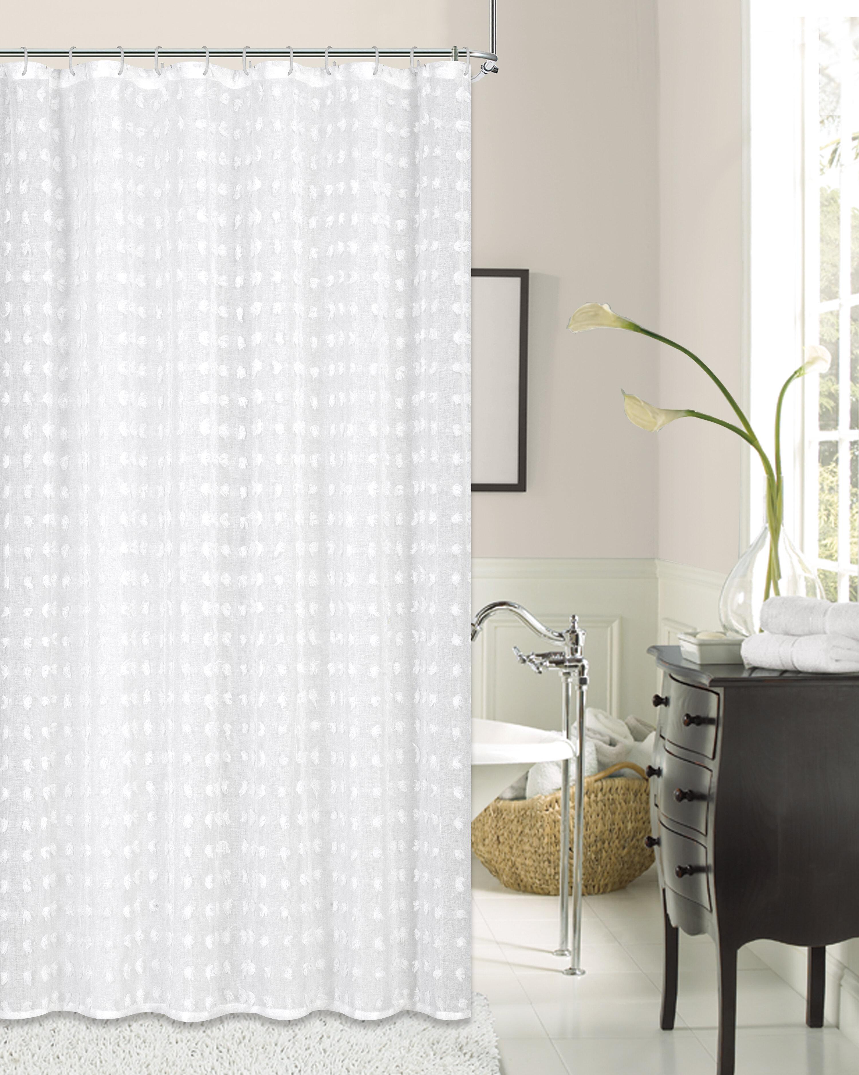 Marshallville Cut Flower Linen Look Fabric Single Shower Curtain