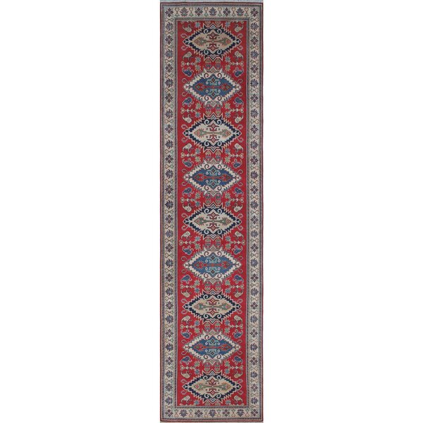 Crown Point Kazak Hand-Knotted Wool Red Area Rug by Canora Grey
