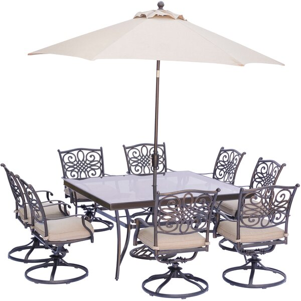 Carleton 9 Piece Square Dining Set with Natural Oat Cushions and Umbrella by Fleur De Lis Living