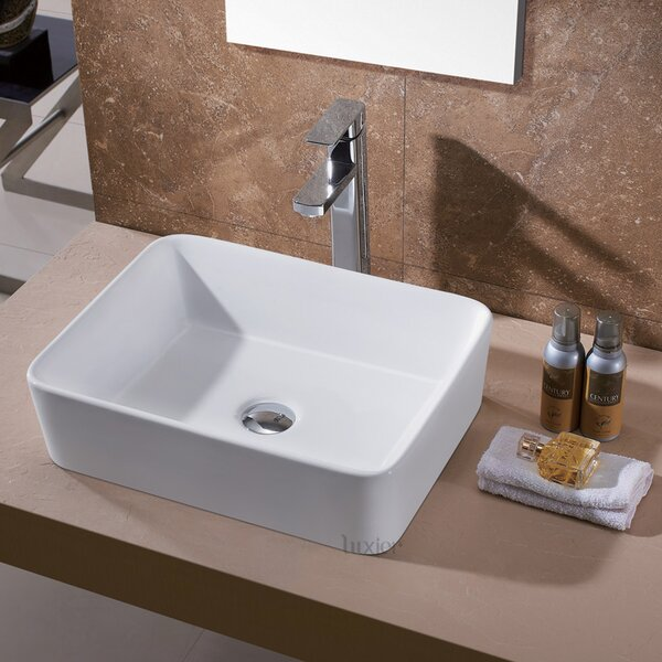 Ceramic Rectangular Vessel Sink Bathroom Sink by Luxier