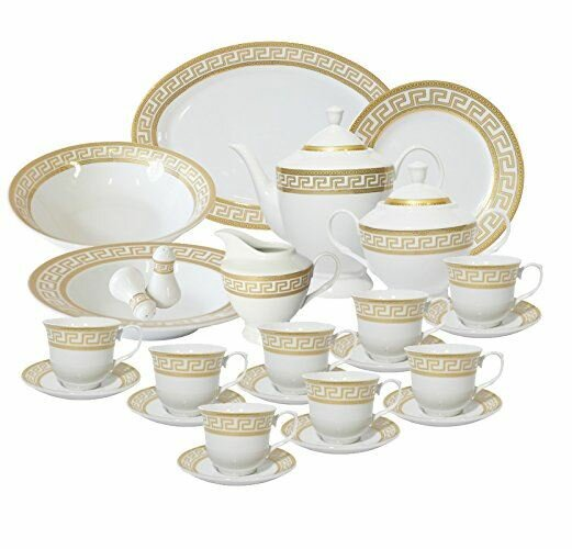 Greek Key 49 Piece Dinnerware Set, Service for 8 by Imperial Gift Co.