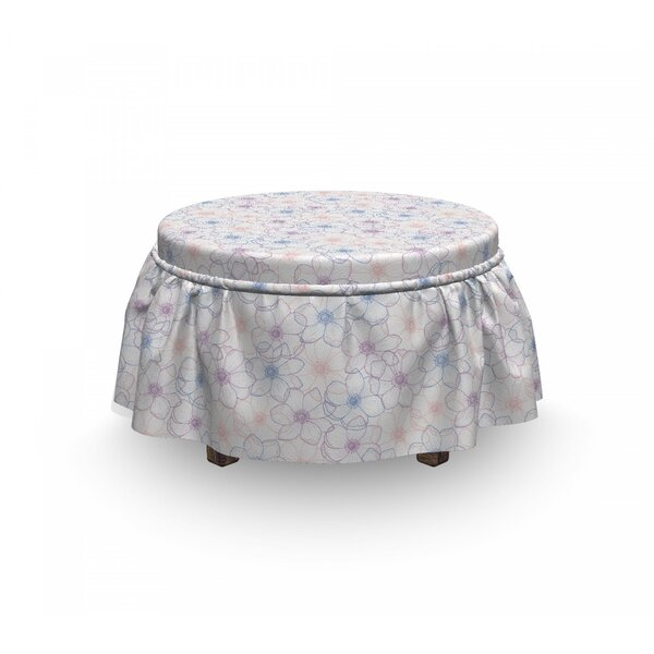 Anemone Flower Pastel Petals 2 Piece Box Cushion Ottoman Slipcover Set By East Urban Home
