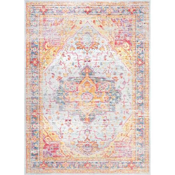 Moore Haven Light Blue/Red/Yellow Area Rug by Bloomsbury Market