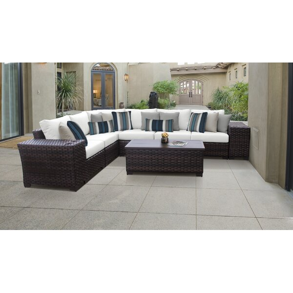River Brook 9 Piece Outdoor Wicker Patio Furniture Set 09a by kathy ireland Homes & Gardens by TK Classics