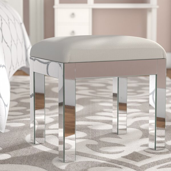 Emerita Solid Vanity Stool by Rosdorf Park