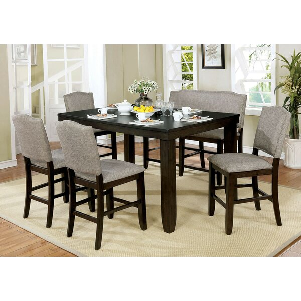 Len 6 Piece Counter Height Drop Leaf Breakfast Nook Dining Set by Canora Grey