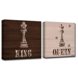 Her King His Queen by Olivia Rose 2 Piece Graphic Art on Wrapped Canvas Set by Ready2hangart