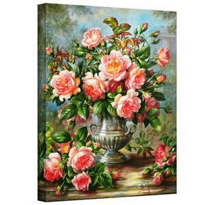 English Elegance Roses in a Silver Vase by Albert Williams Graphic Art on Wrapped Canvas by ArtWall