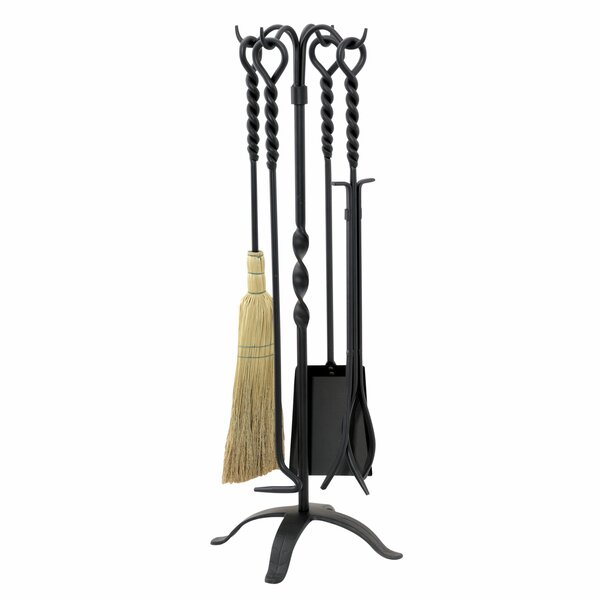 4 Piece Wrought Iron Twist Fire Tool Set With Stand by Uniflame Corporation