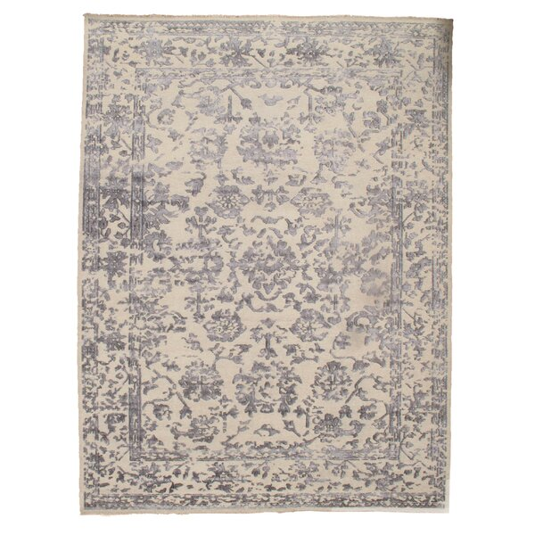 Modern Hand-Knotted Silk Ivory Area Rug by Pasargad NY