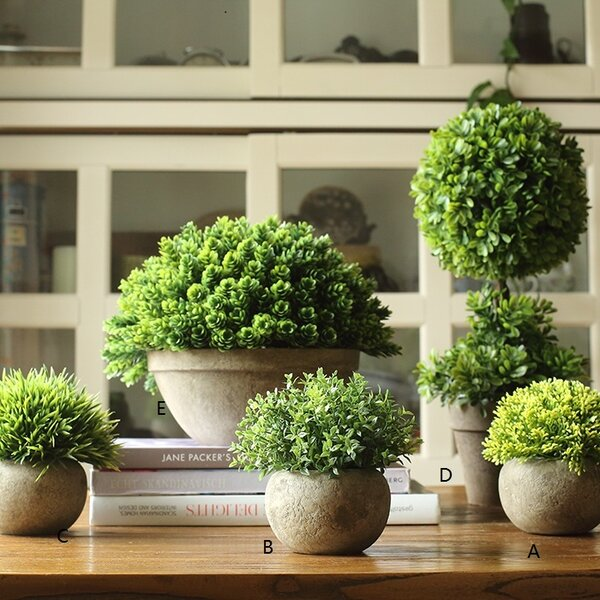 Rustic Artificial Boxwood Desktop Topiary in Various Designs by Gracie Oaks