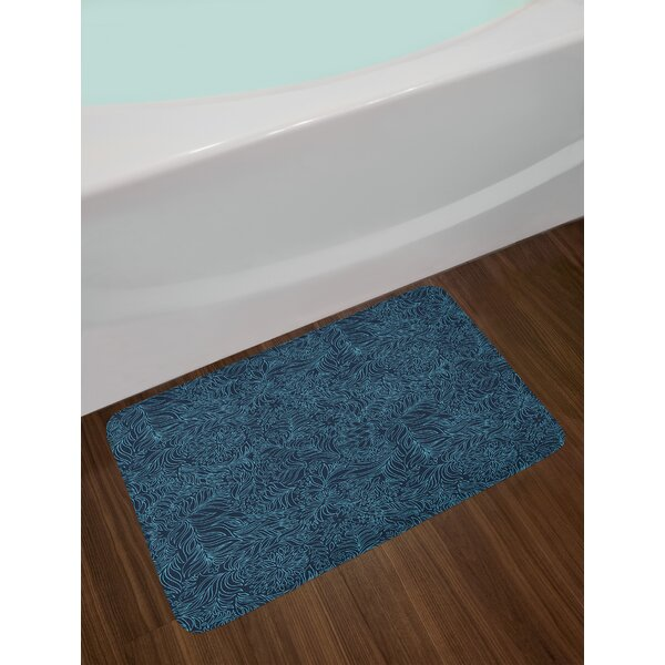 Navy and Teal Bath Rug by East Urban Home