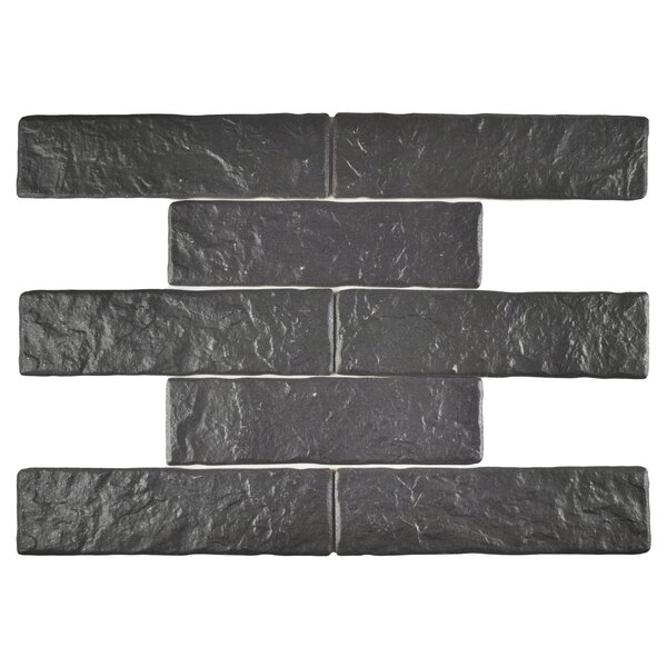 Belcanto 3.13 x 11.38 Porcelain Splitface Tile in Black by EliteTile
