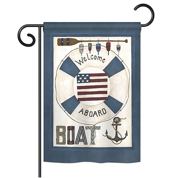 Welcome Aboard Coastal 2-Sided Polyester Garden Flag by Breeze Decor