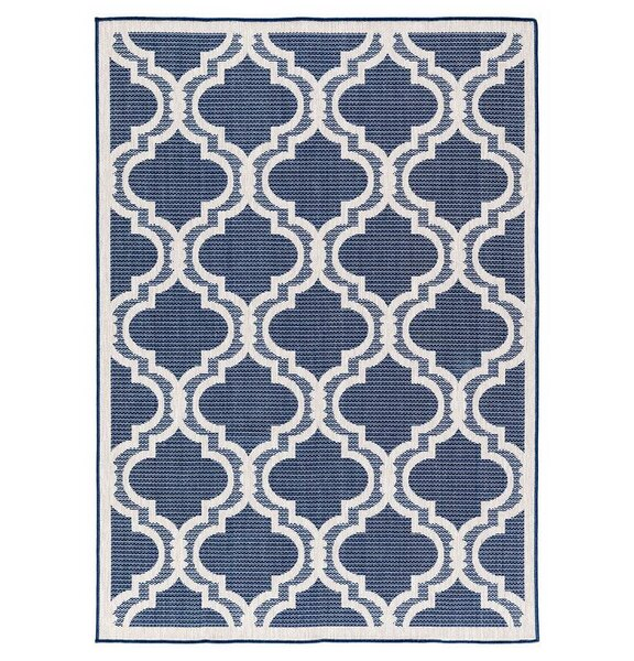 Kinney Reversible Blue/Gray Indoor/Outdoor Area Rug by Charlton Home