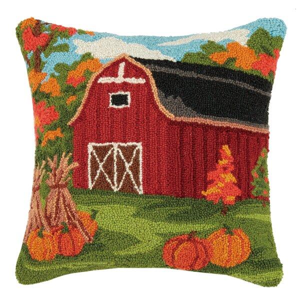 Munford Fall Barn Wool Throw Pillow by August Grove
