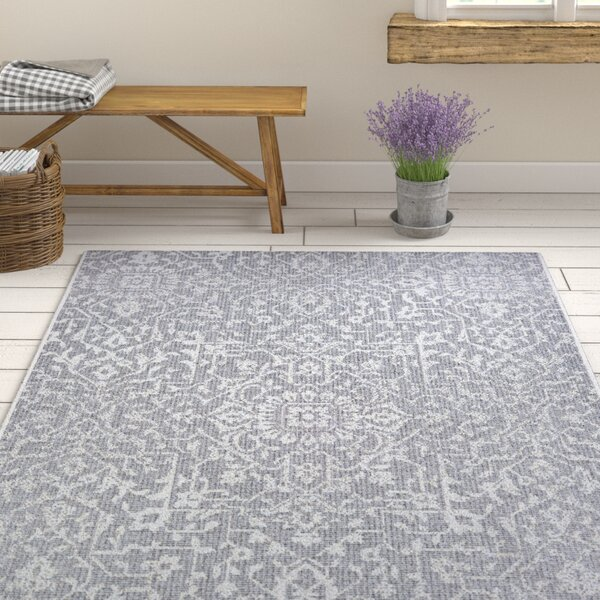 Kraatz Palmette Gray Indoor/Outdoor Area Rug by Ophelia & Co.