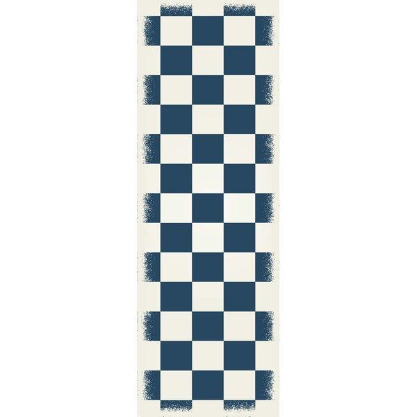 Massengill Checker Blue/White Indoor/Outdoor Area Rug