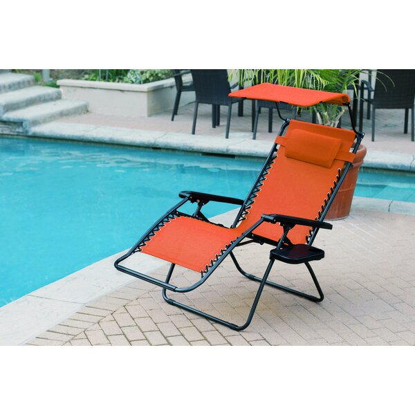 Cabral Folding Zero Gravity Chair with Sunshade And Drink Tray (Set of 2) by Freeport Park Freeport Park